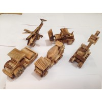 A Wooden Helicopter + 4 Construction Vehichles ( A Set of 5)